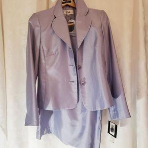 Le Suit Shiny Jacket & Skirt Suit,Violet